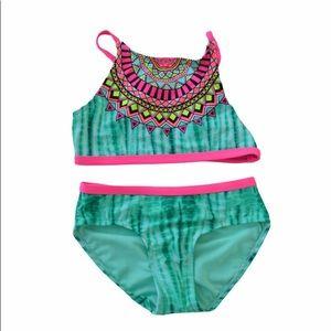 Justice bikini set tie dye green pink girls new
